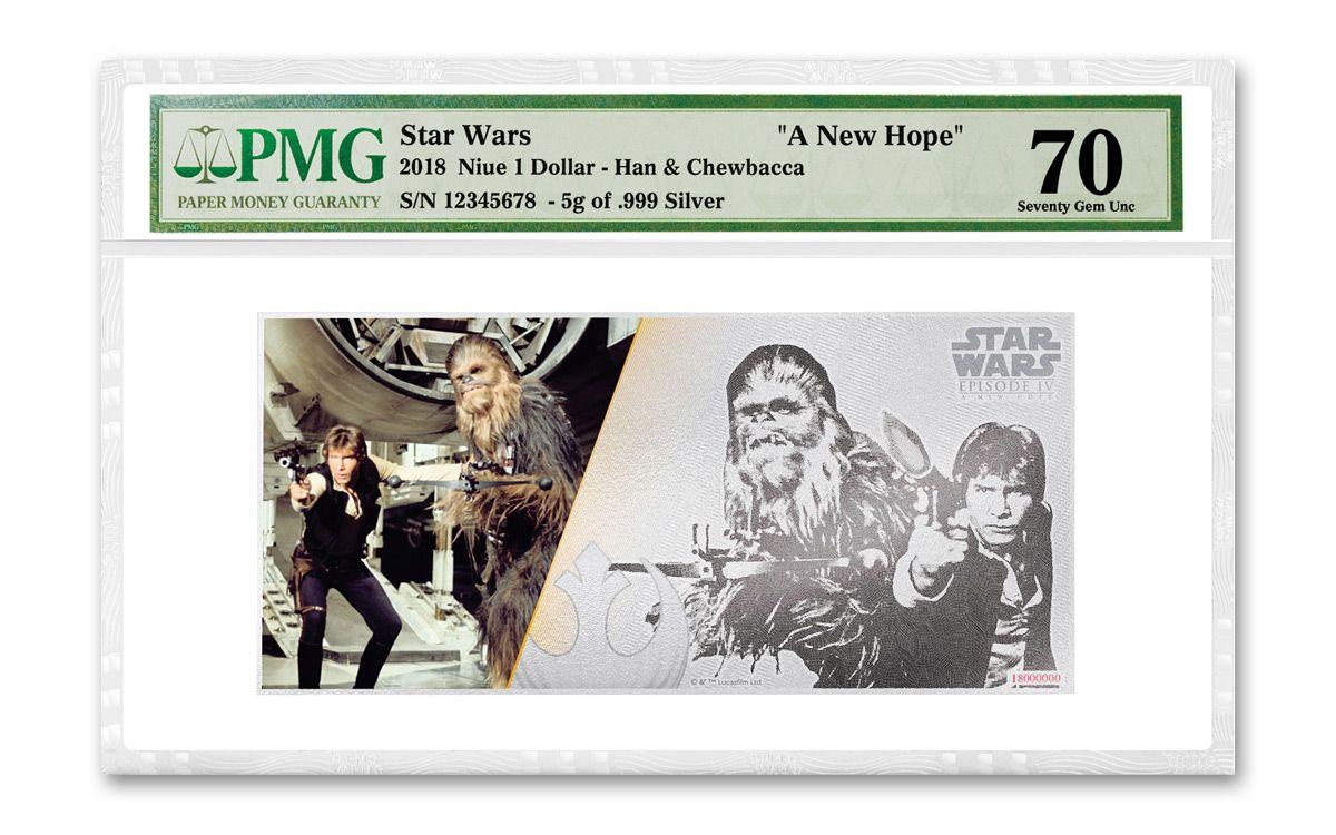 2018 Niue Silver Han Solo Amp Chewbacca Foil Note Pmg Gem 70