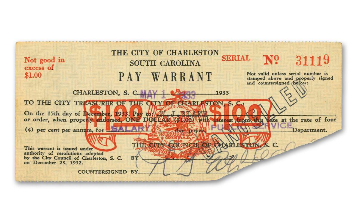 1930s city of charleston depression scrip note govmint com