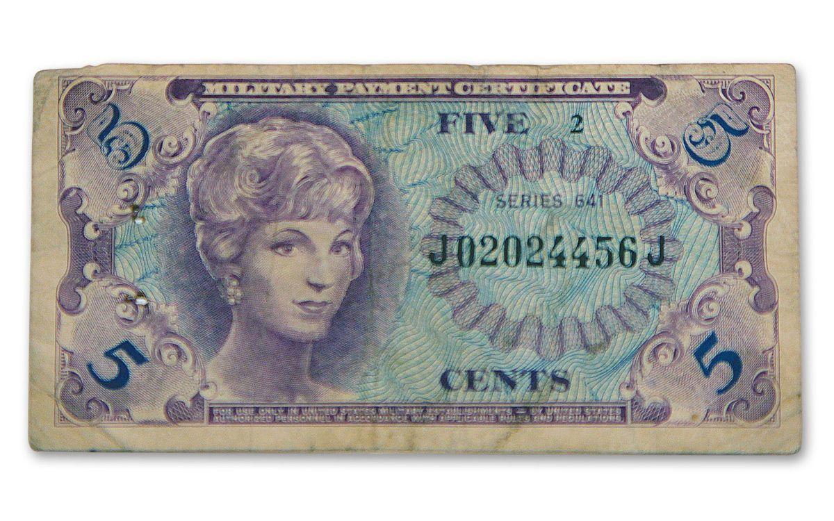 1965 1968 Vietnam Series 641 Mpc 5 Cents Note Govmint