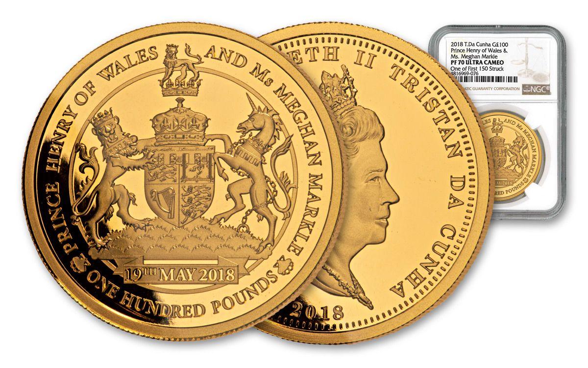 2018 Tristan Da Cunha 100 Pound 1 Oz Gold Royal Wedding Ngc Pf70ucam One Of First 150 Struck