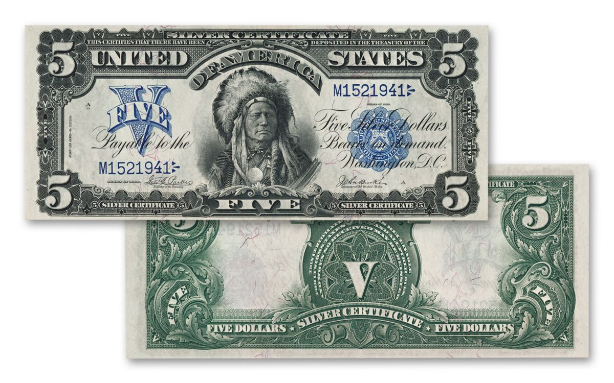 1899 Five Dollar Silver Certificate Oncpapa Indian Chief Vf Xf