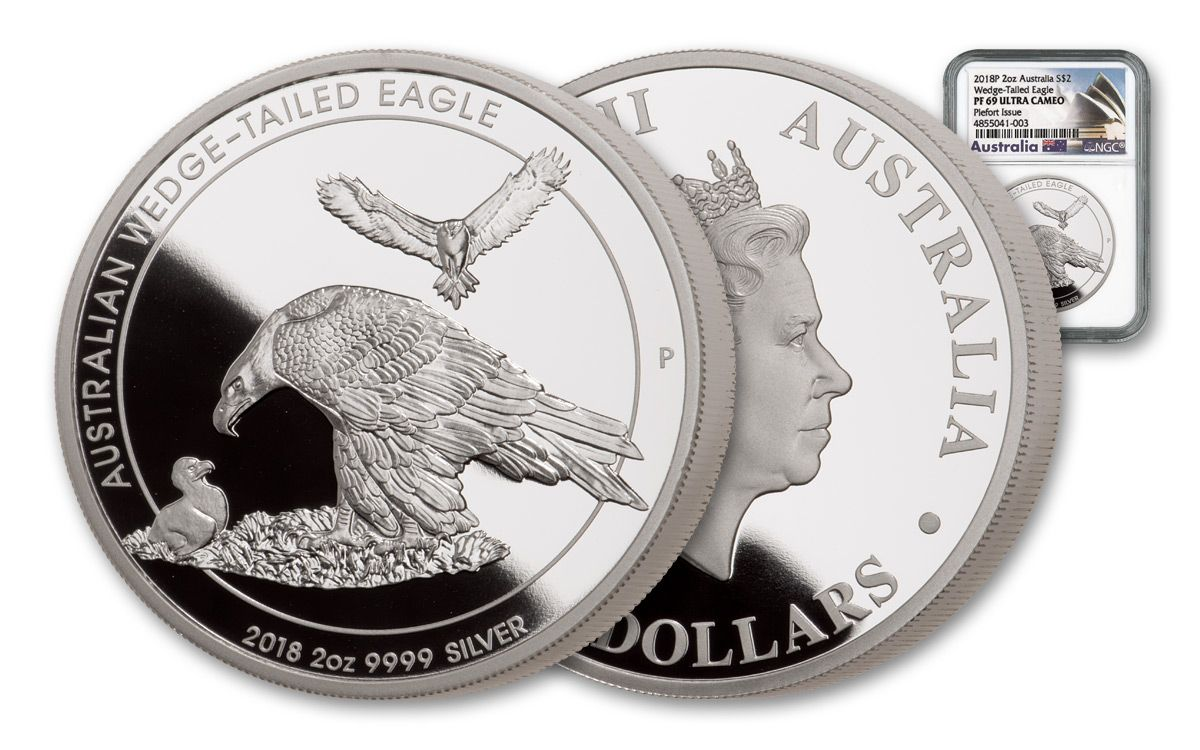 2018 Australia 2 Oz Silver Wedge Tailed Eagle Piedfort Ngc Pf69uc