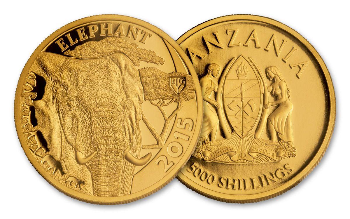 2017 2018 Tanzania 5 Piece 1 Ounce Gold Serengeti Complete Set Ngc Pf70uc