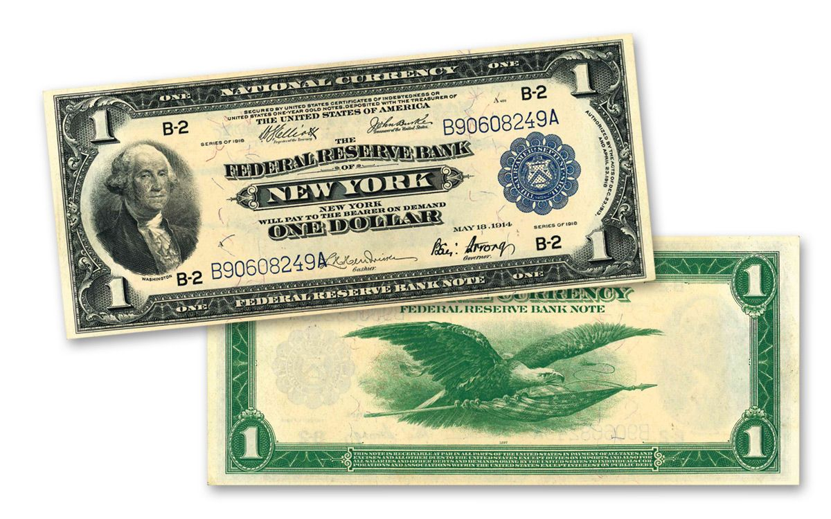 1918 1 Federal Reserve Bank Currency Note Au