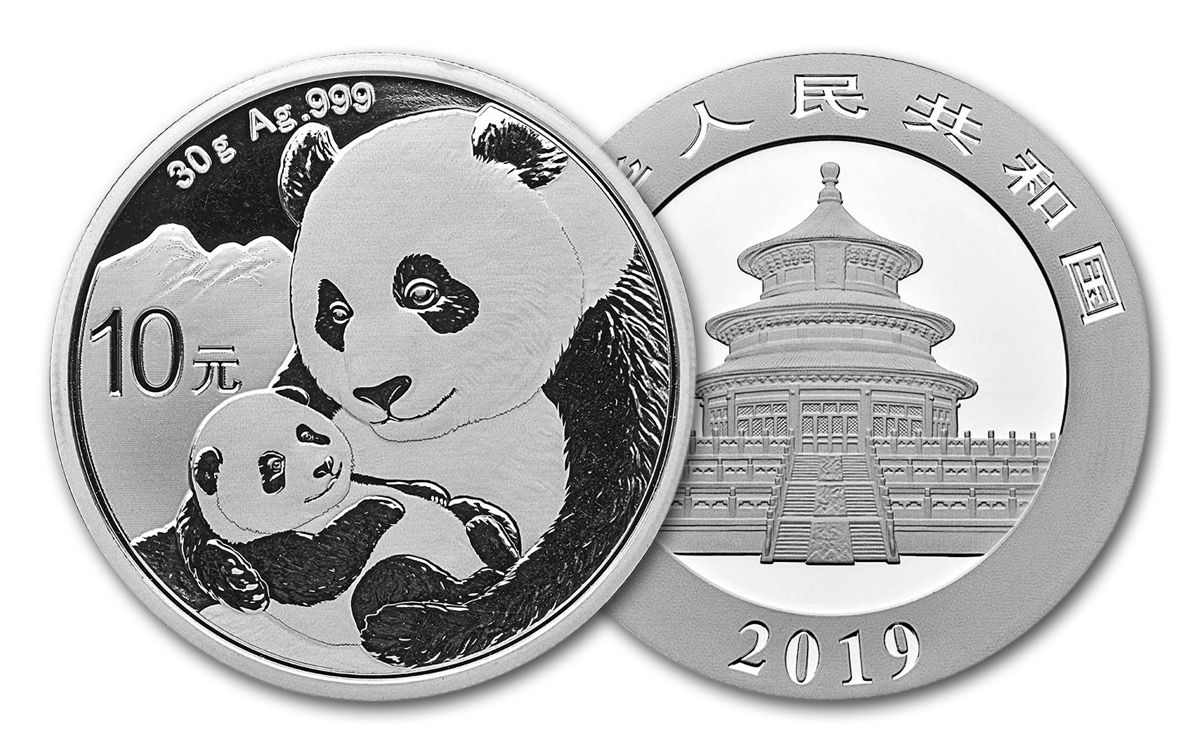 2019 China 30 Gram Silver Panda Brilliant Uncirculated