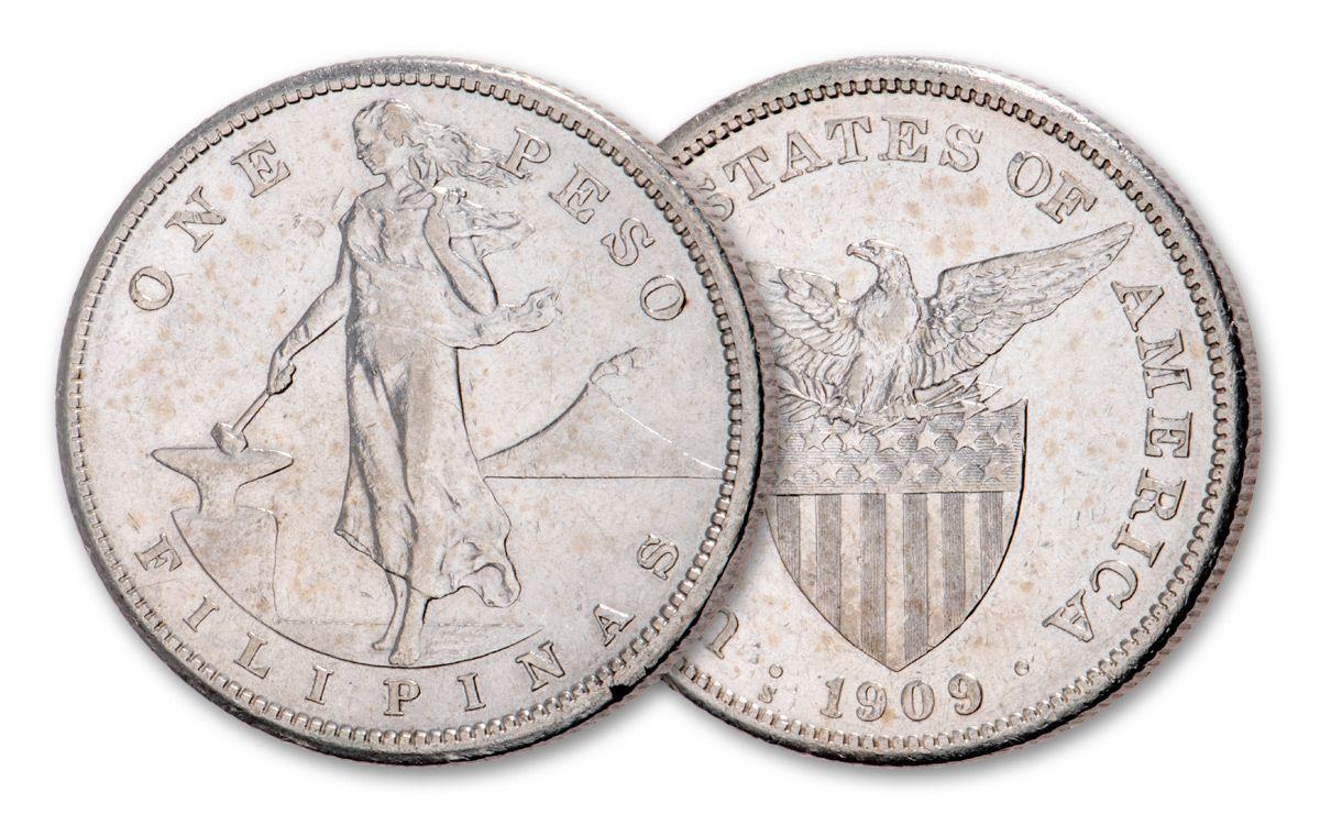 1907 1912 Philippines 1 Peso Teddy Roosevelt Silver Dollar Xf Au