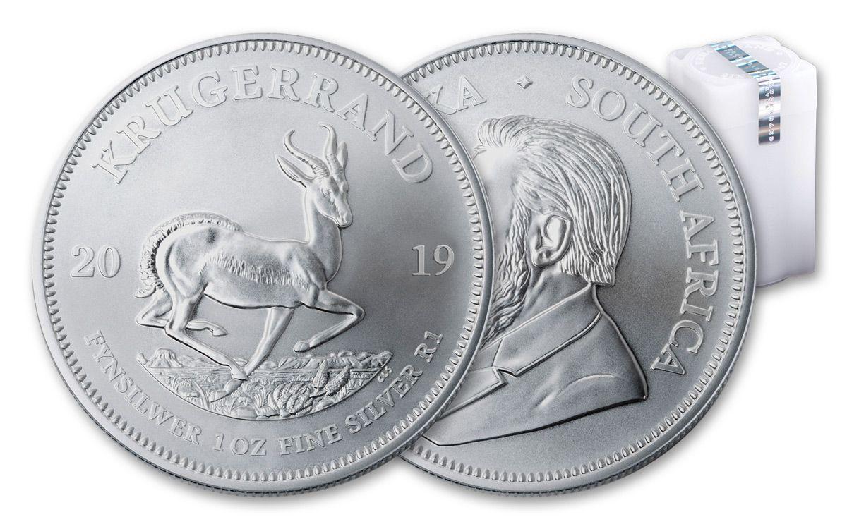 2019 South Africa 1 Oz Silver Krugerrand Bu 25 Piece Roll
