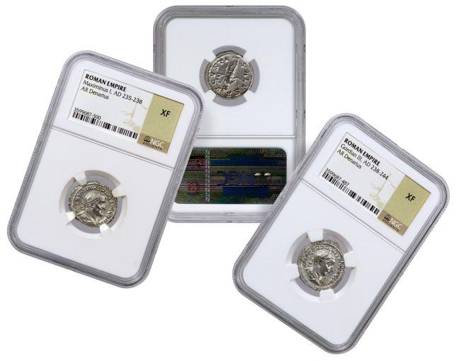AD 1st-3rd Century Roman Random Silver Denarius NGC XF