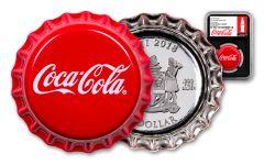 2018 Fiji Coca-Cola Bottle Cap 6-gm Colorized Silver NGC PF69UC Coke Bottle Label Black Core
