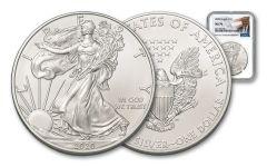 2020 $1 1-oz Silver Eagle NGC MS70 w/Trump Label