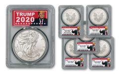 2016–2020 $1 1-oz Silver Eagle 5-pc Set PCGS MS70 w/Trump 2020 Label