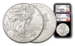 2-pc Set 2020(P) $1 1-oz Silver Eagle Struck At Philadelphia Emergency Production NGC MS70 First Day of Issue w/Black Core & Mercanti-Jones Signatures