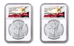 2020(P) & 2020-W $1 1-oz Silver Eagle Struck At Philadelphia Emergency Production 2-pc Set NGC MS69 w/Eagle Label