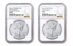 2020(P) & 2020-W $1 1-oz Silver Eagle Struck At Philadelphia Emergency Production 2-pc Set NGC MS69 w/Brown Label