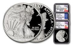 2020-S $1 1-oz Silver Eagle NGC PF70UC First Day of Issue 3-pc Set w/Mercanti, Jones & Moy Signatures