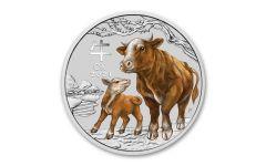 2021 Australia 25₵ 1/4-oz Silver Sydney Show Lunar Year of the Ox Colorized Coin BU