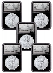 2020(P) $1 1-oz Silver Eagle Struck At Philadelphia Emergency Production NGC MS69 First Releases w/Black Core & Heraldic Eagle Label 5-Pack