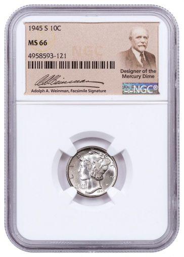 1945-S 10 Cent Mercury Dime NGC MS66 w/Weinman Label
