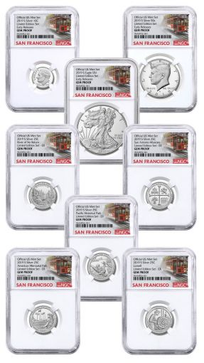 2019-S United States Mint Limited Silver Proof Set™ NGC Gem Proof Early Releases w/Trolley Label