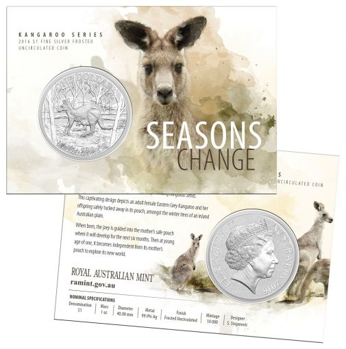 2016 Australia 1-oz Silver Kangaroo Seasons Change