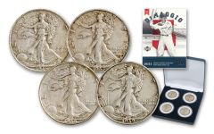 1936-1939 Silver Walking Liberty DiMaggio 4-Coin Set XF