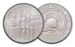 2002-W West Point Bicentennial Silver Dollar BU