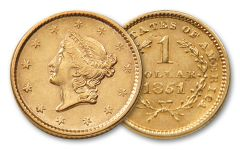 1849-1854 1 Dollar Gold Liberty Type I BU