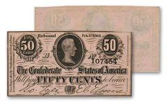1864 50 Cent Confederate Note CU