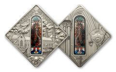 2012 Palau 10 Dollar Silver Augsburg Cathedral Antique Finish
