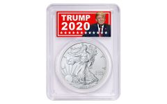 2020 $1 1-oz Silver Eagle PCGS MS70 First Day of Issue w/Trump 2020 Label