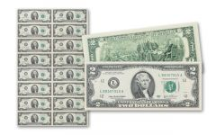 Uncut Sheet of 2 Dollar Bills - Sheet Of 16