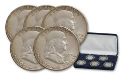1949–1954-S Silver Franklin Half Dollar 5-pc Collection F