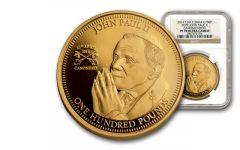 2014 Tristan Da Cunha £100 1-oz Gold Pope John Paul II NGC PF70UC