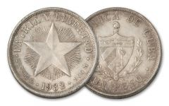 1932-1934 Cuba Star Peso Silver VF-XF