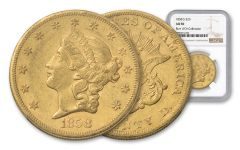 1858-S 20 Dollar Liberty NGC AU50 Rive D'OR