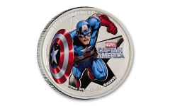 2014 Niue $2 1-oz Silver Avengers Captain America Proof