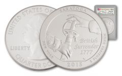 2015-P 25 Cent 5-oz Silver Saratoga PCGS SP70 FDI Moy Signed