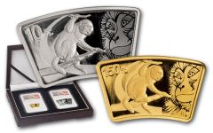 2016 China Gold and Silver Year of the Monkey Fan Shaped Set NGC PF69 UC