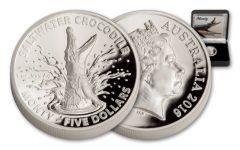 2016 Australia 5 Dollar 1-oz Silver Monty Crocodile High Relief Proof