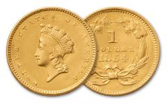 1854-1856 1 Dollar Gold Indian Type II XF