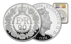 2016 Great Britain 10 Pound 5-oz Silver Queen Elizabeth II 90th Birthday NGC PF69UCAM First Struck