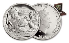 2016 Niue 2 Dollar 1-oz Silver Alice in Wonderland Proof