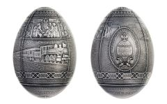 2016 Republic of Cameroon 5000 Franc 7-oz Silver Trans Siberian Railway Egg Antique