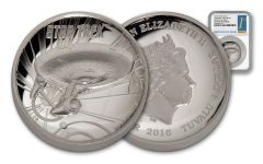 2016 Tuvalu 1-oz Silver Star Trek Enterprise High Relief NGC PF69 First Day of Issue