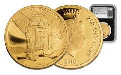 2016 Niue 250 Dollar 1-oz Gold Star Wars Classic R2-D2 NGC PF69UCAM First Releases - Black