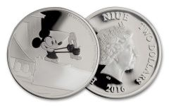 2016 Niue 2 Dollar 1-oz Silver Mickey Plan Crazy Proof