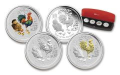 2017 Australia 1 Dollar 1-oz Year of the Rooster 4 Pc Set