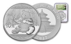 2017 China 30-Gram Silver Panda NGC MS69 Early Release Panda Label
