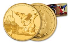 2016 Niue 2.5 Dollar Half Gram Gold Disney Mickey Fantasia Proof