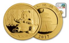 2017 China 8-Gram Gold Panda NGC MS70 Early Release Great Wall Label